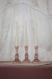 Pink Glass Candle Stick