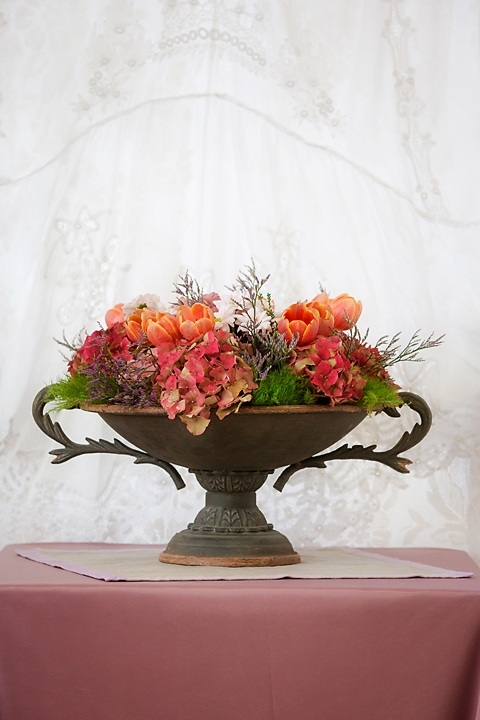 Rustic Footed Urn Flowers
