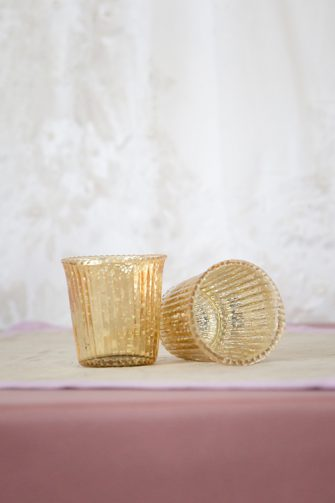 Fluted Tea Light Holder Small Gold