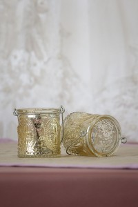 Vintage Gold Candle Holder with Wire Gold