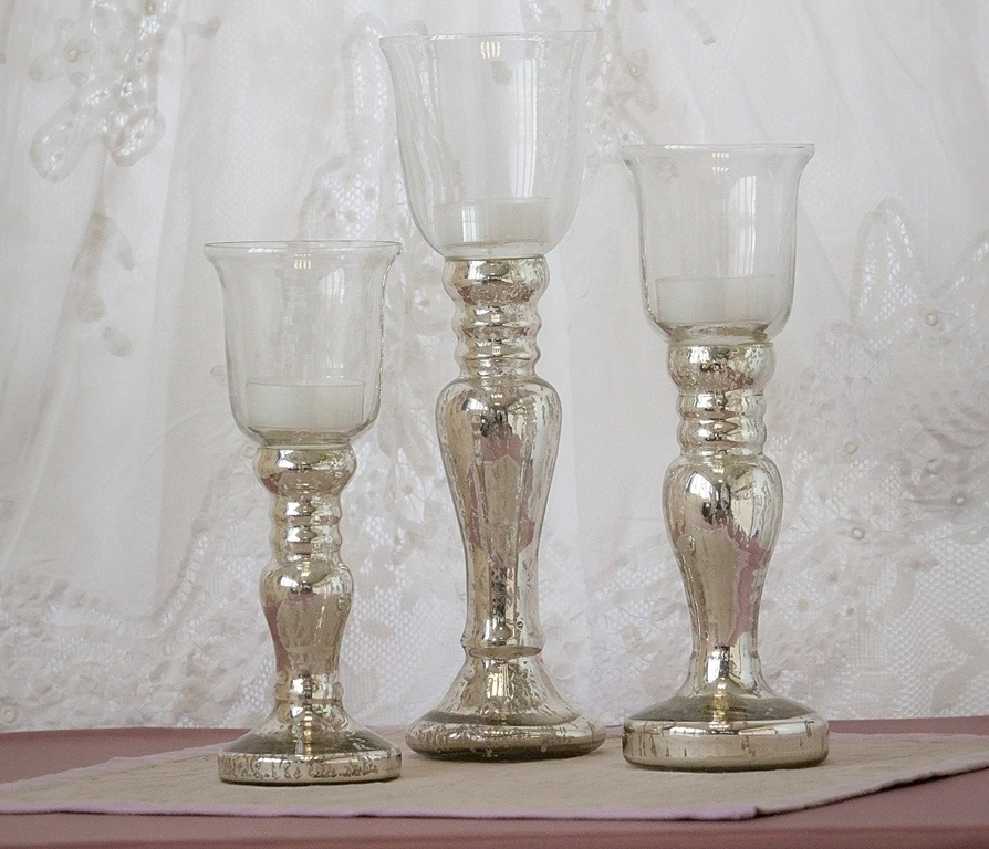 Glass Topped Silver Candle Holders