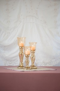 Glass Topped Gold Candle Holders