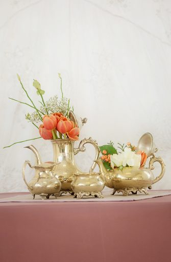 Vintage Brass Tea Coffee Set