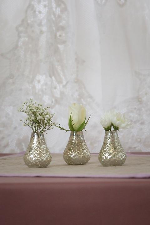 Silver Mercury Glass Bud Vases