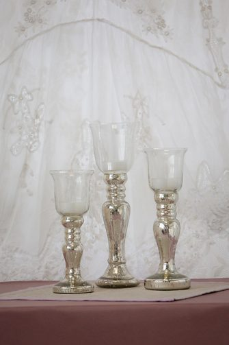 Glass Topped Silver Candle Holder