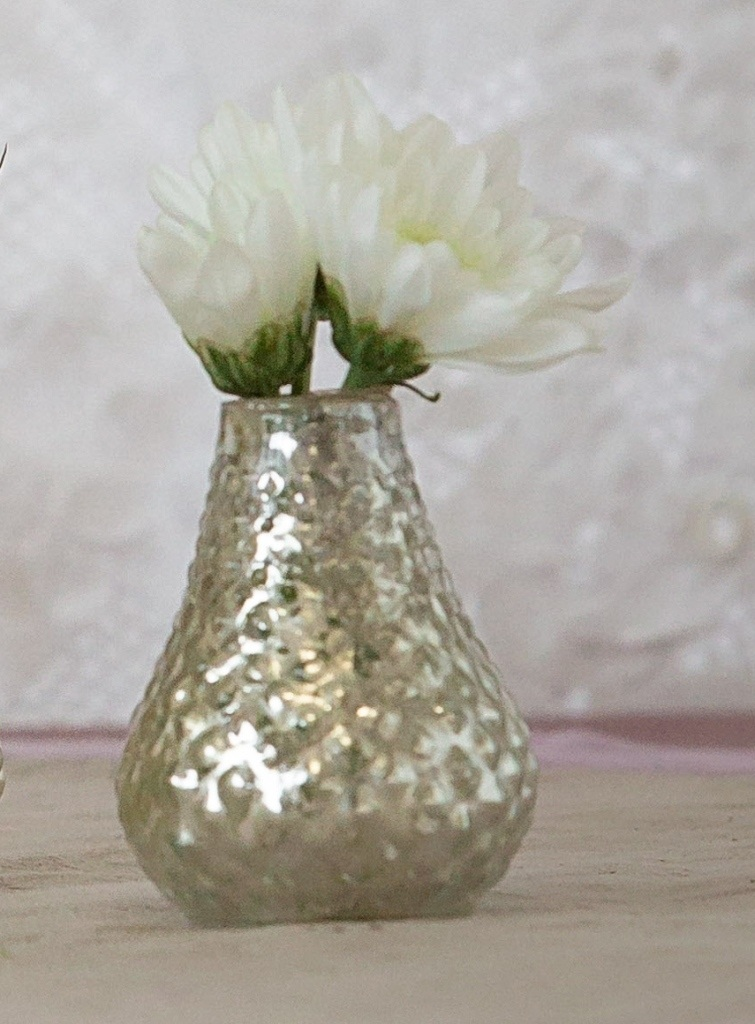 Silver Mercury Glass Bud Vases