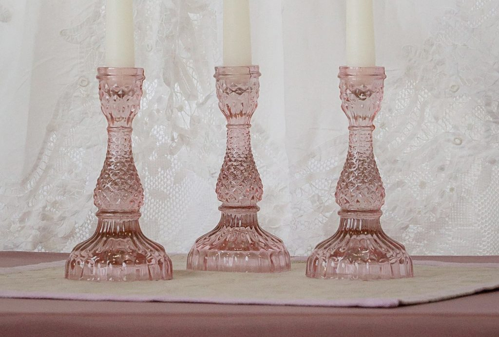 Antique Pink Glass Candlesticks